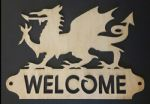 Bespoke wood sign Welsh Dragon & Welcome word      door gate door (1)